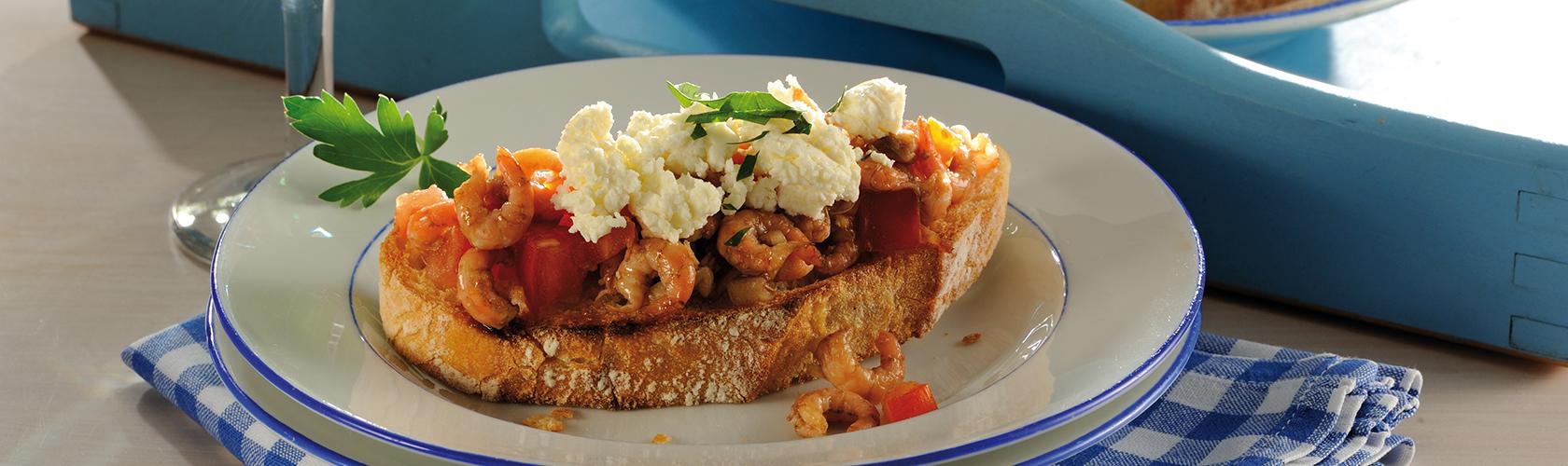leckere Krabben mit Weißkäse