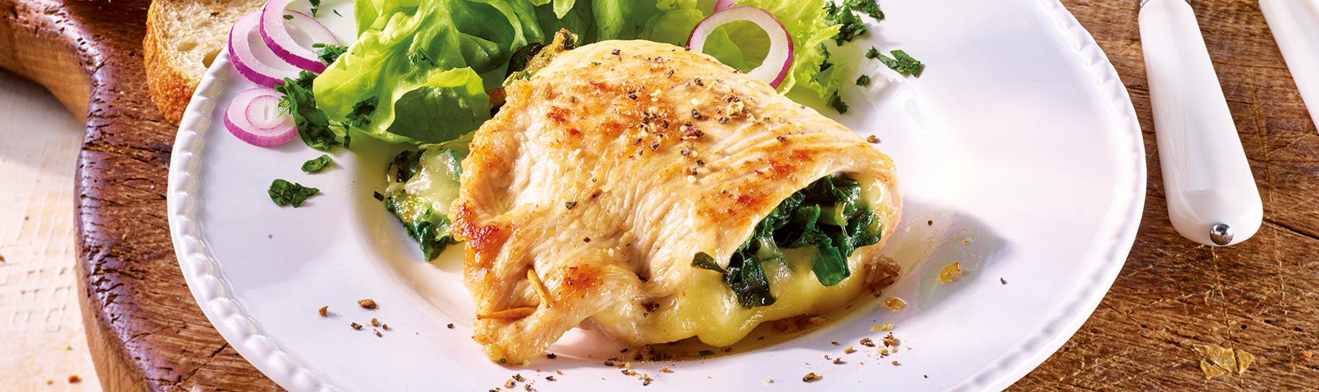 Gefüllte Putenschnitzel mit Spinat und Käse