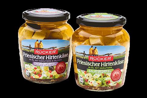 Salatwürfel der Molkerei Rücker in den Sorten Käutern und Oliven und Kräutern