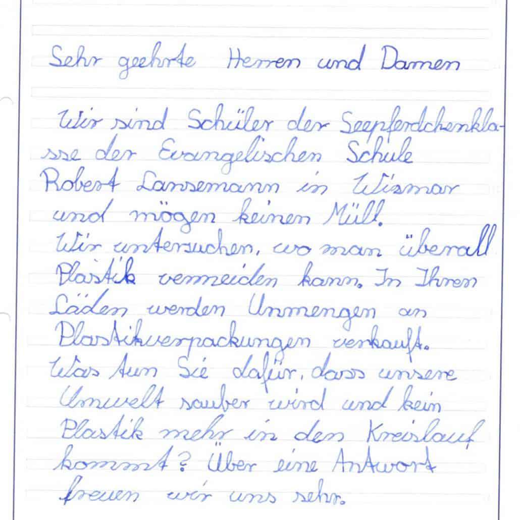 Briefanschreiben der Seepferdchenklasse in Wismar