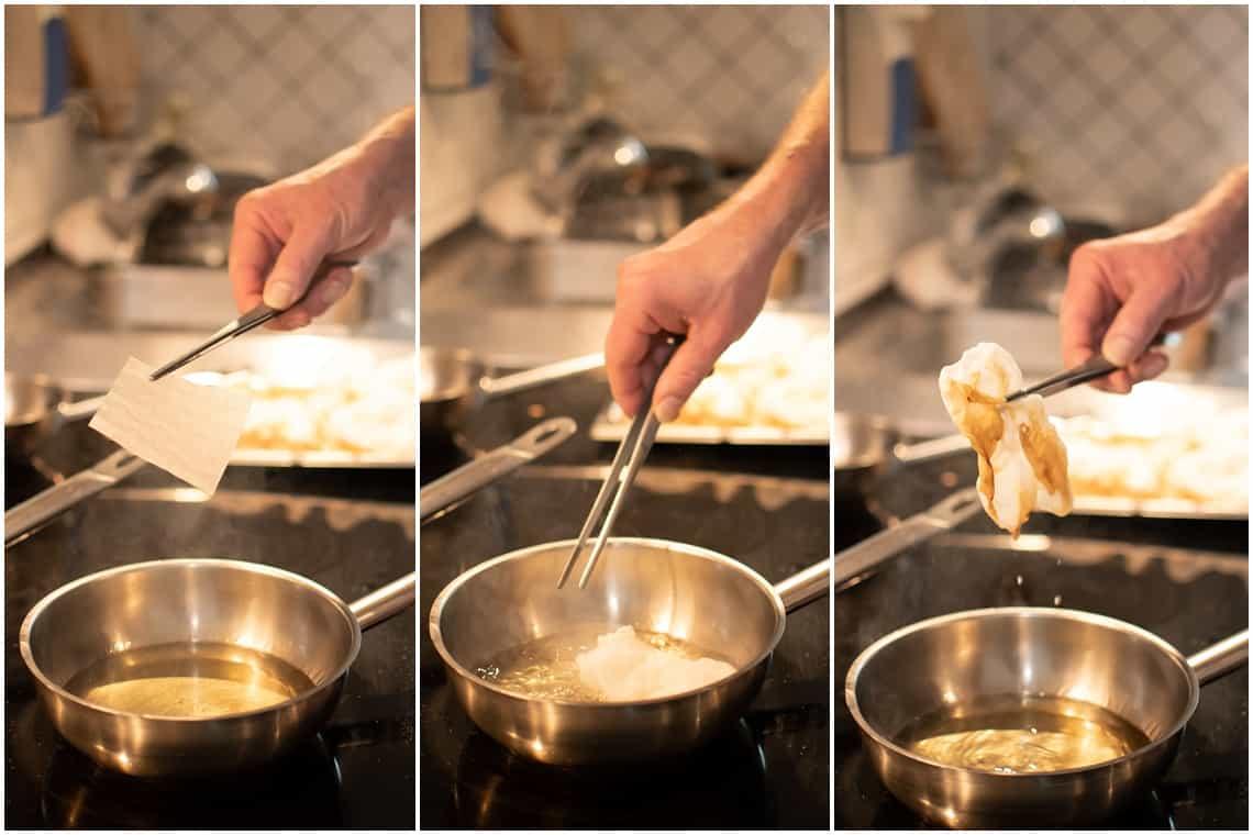 Reisblätter-Chips zubereiten